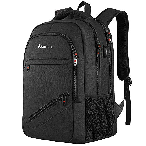 Asenlin Travel Laptop Backpack, 15.6 Inch Business Durable Computer Backpack with USB Charging Port, Water Resistant College School Backpack for Men Women Black