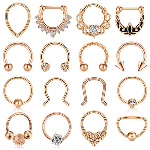 MODRSA Septum Ring Septum Piercing Jewelry 16g Septum Clicker Ring and Horseshoe Barbell Stainless Steel Captive Bead Ring Septum Nose Rings Hoop for Men Women Silver Black Rose Gold 8mm 10mm