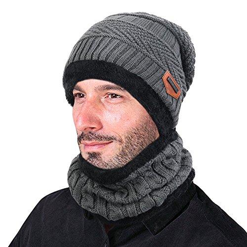 Goodbuy Wintermütze Herren Warm Beanie Mützen Strickmütze mit Schal de Fleecefutter (Grau)