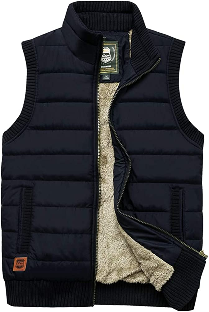Vcansion Men's Outdoor Stand Our shop OFFers the best service Collar Fleece Pa It is very popular Casual Vest Jacket