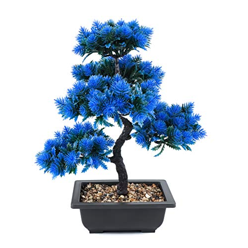 Árbol de bonsái artificial de pino en maceta de plástico, Feng Shui, decoración de mesa para escritorio moderno, oficina, altura: 40 cm, color azul