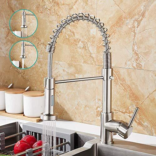 Rubinetto da cucina con doccetta girevole a 360°, rubinetto da cucina a molla, 2 modalità di nebulizzazione con tubi, miscelatore monocomando per lavello freddo e caldo, disponibile (argento)