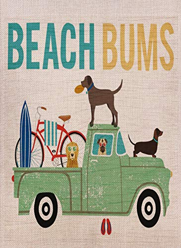 Selmad Summer Dog Truck Garden Flag Beach Bum Double Sided, Welcome Tropical Ocean Funny Burlap Decorative House Yard Decoration Lab Bicycle Yorkie, Nautical Seasonal Home Outdoor Décor 12 x 18 Spring