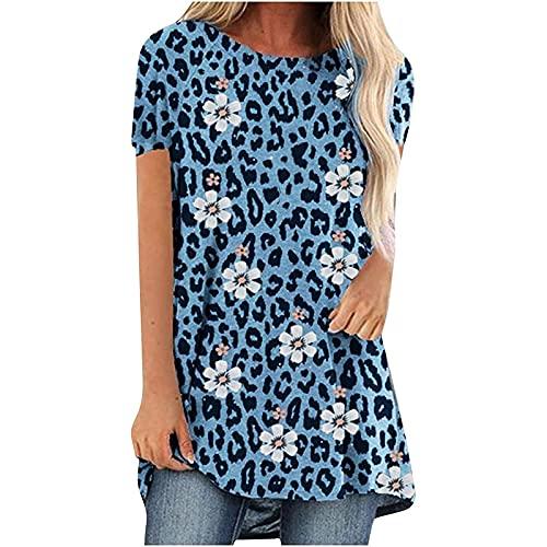 Moda Camiseta Mujer Manga Corta con Estampado de Leopardo/Flores Blusas de Mujer Cuello en Redondo Camisa Suelta Elegante para Verano Damas Tops Ideal para Oficina,Trabajo,Entrevista