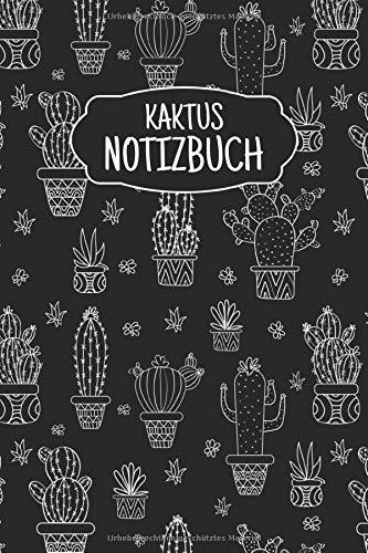 Kaktus Notizbuch: Liniertes Notizbuch ca A5 für Notizen, Skizzen, Zeichnungen, als Kalender, Tagebuch oder Geschenk; breites Linienraster; Motiv: Kaktus Muster Kakteen