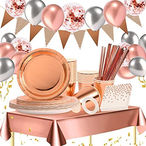 Hilsoeet Partygeschirr 157 Stück Partyzubehör Partydeko Pappteller Partybecher Servietten Strohhalme Banner Tischdecke Vorhänge Luftballon für 25 Gäste Geburtstag Hochzeit Party Rosegold