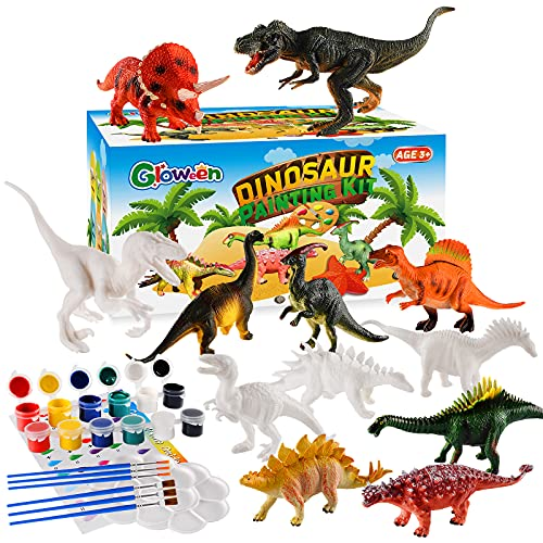 Gloween Arts and Crafts for Kids - Dinosaur Toy Painting Kit - 12 Dinosaur Figurines - Create Your Dino World - Painting Toys Gifts for Age 3, 4, 5, 6, 7, 8+ Year Old Boys Girls Toddlers