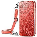 Pheant Compatible con Xiaomi Redmi Note 10 Pro Funda con Tapa - Bolso de Hombro Teléfono Móvil para Mujer Carcasa Magnético con Suporte,Tarjetero y Correa - Funda Libro con Diseño de Flores - Rojo
