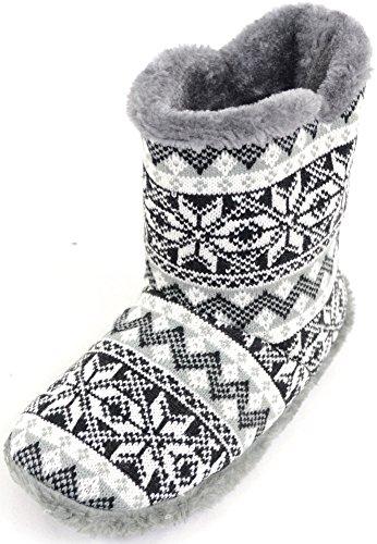 Snugrugs Herrenschuhe/Slipper/Boots im Strickdesign mit wärmendem Futter aus Webpelz - Grau - EU 43-44