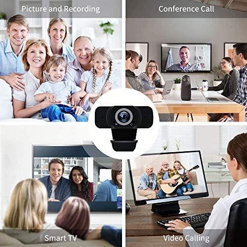 EasyULT Webcam PC 1080P Full HD con Micrófono Estéreo, USB 2.0 Cámara Portátil para PC, Micrófono con Cancelación de Ruido, para videollamadas, Estudio, Conferencia, Grabación miniatura