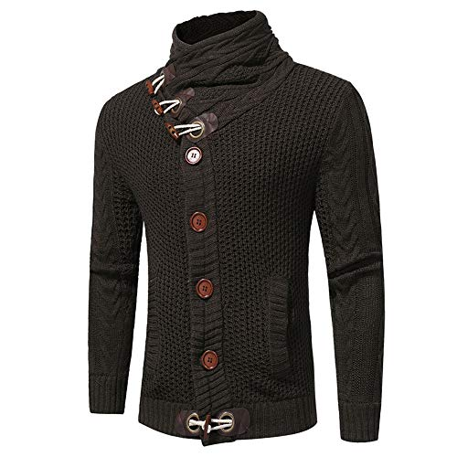 Men's Jumpers Long Sleeve Slim fit Horn Button Thick Twisted Flower Stand Collar Chunky Knit Cardigan Cardigan Autumn Winter New Warm Fashion Novelty Modern Shawl Collar Sweaters Tops M