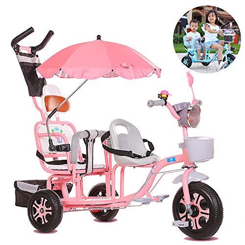 FLy Triciclo Infantil Doble 4 En 1 Triciclo para Cochecito Gemelos con Cesta Toldo Extraíble, con Manija De Empuje De Dirección para 1-6 Años Niños Niñas, Rosado