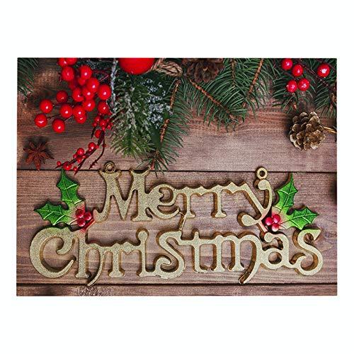 Generice Ensemble de table rectangulaire en coton et lin Motif lettres de Noël