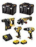 DeWALT Kit DWK401 (Trapano a Percussione DCD996 + Tassellatore DCH273 + Mini-Smerigliatrice DCG405 + Avvitatore ad Impulsi DCF887 + 2 Batterie 5,0 Ah + Caricabatterie + 2 x TSTAK VI)