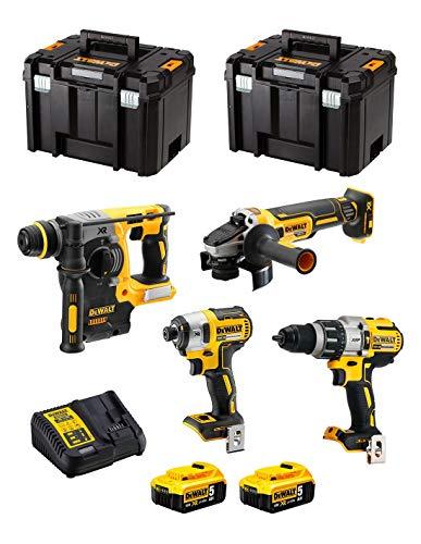 DeWALT Kit DWK401 (Taladro Percutor DCD996 + Martillo Perforador DCH273 + Mini-Amoladora DCG405 + Atornillador de Impacto DCF887 + 2 Baterías de 5,0 Ah + Cargador + 2 x TSTAK VI)