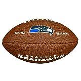Wilson Ballon Football Américain, Homologué NFL, Utilisation récréative, Taille Mini, NFL TEAM LOGO SEATTLE SEAHAWKS, Brun, WTF1533XBSE