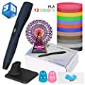 Uzone 3D Pen,Intelligent 3D Printing Pen with PLA Filament,Compatible with PLA &ABS,Adjustable Temperature and 8 Speed, LCD Display No Blockages for Arts Crafts, for Adults and Kids