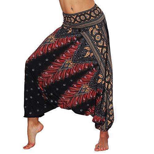 chuangminghangqi Pantaloni Harem Pantaloni Donna Estivi Pantaloni da Yoga Cavallo alla Turca Hippie Indiani Harem Pants Larghi Casual Spiaggia (Rosso-004, Taglia Unica)