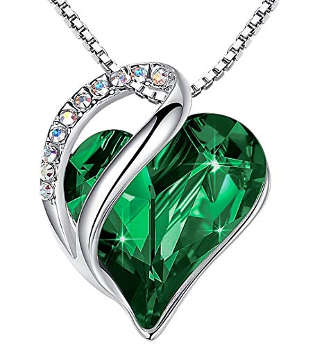 Leafael Infinity Love Heart Pendant Necklace with Emerald Green Birthstone Crystal for May, Jewelry Gifts for Women, Silver-tone, 18'+2'