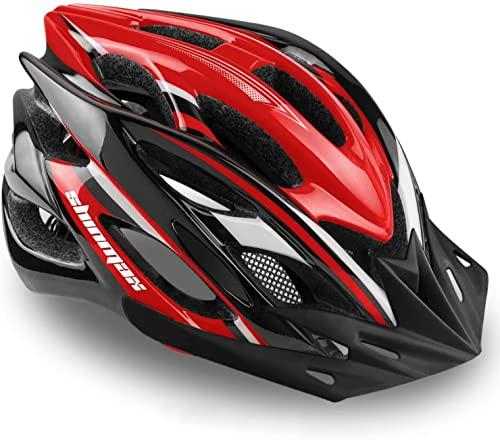 Casco de ciclismo con luz LED, de A-Best, casco integral especializado con luz de seguridad, visera y forro extraíbles, para adulto, Rojo - Negro