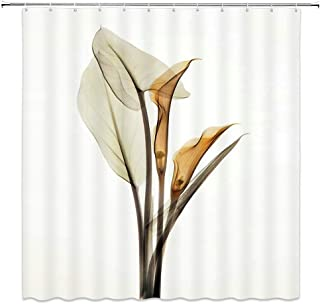 LIVEFUN Floral Shower Curtain X-Ray Calla Lily Nature Solarized Print Romantic Flower Bathroom Decoration Sets, 72 x 72 inches Fabric with 12 Hooks,Brown