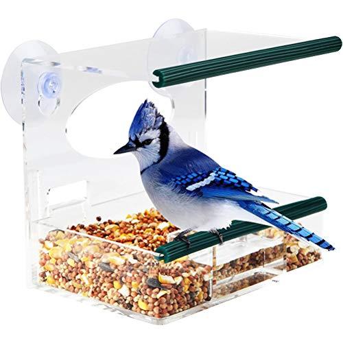 Kylewo Acryl Clear Window Vogelvoerdispenser, doorzichtig vogelhuisje raam vogelvoerdispenser groot acryl vogelvoerdispenser vogelvoerstation