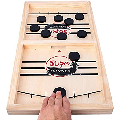 Fast Sling Foosball Puck Game Board Game Middle Size, Table Desktop Battle 2 in 1 Ice Hockey Game, Funny Battle Board Games for Adults or Kids Party Home Parent - Child Game