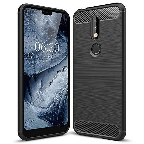 NALIA Hülle Handyhülle kompatibel mit Nokia 7.1 (2018), Ultra-Slim Silikon Hülle Cover, Dünne Crystal Phone Schutzhülle, Stoßfeste Etui Handy-Tasche Backcover Bumper Gummihülle Smartphone - Schwarz