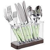 mDesign Organizador de cubiertos con 3 divisiones – Caja con compartimentos para cucharones, espátulas y utensilios de cocina – Cesta de plástico para cocina e invitados – transparente y bronce