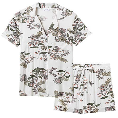 Joyaria Schlafanzug Damen Kurz Pyjama Kurzarm mit Geknöpft Nachtwäsche Set Shorts Hose Top Atmungsaktiv(Blumenmuster,Größe L)