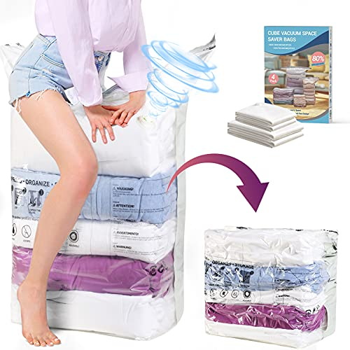 Elegear Cube Vacuum Storage Bag - 4 Pack (2 Jumbo + 2 Medium) Extra Large Space Saver Bags, No Need Pump 5 Seconds Compress Airtight Vacuum Sealer Bag for Clothes Pillows Comforters Quilts Blankets