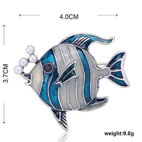 XZROOKEI Perlas de imitación Broche de pez Burbuja Broche de Animales de Esmalte Vintage para Mujeres Hombres Joyería de Vacaciones en la Playa Collar Hijab Pins