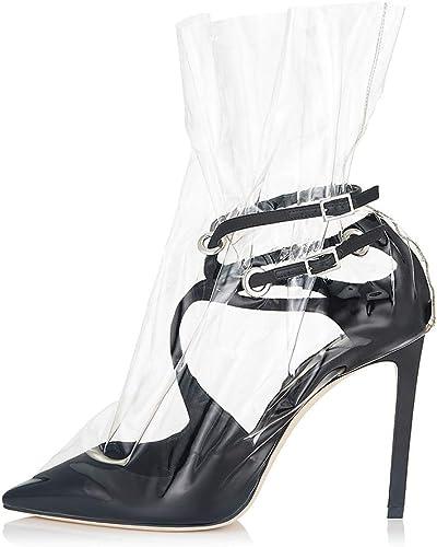 Femme Femme Femme Escarpins Transparent Stiletto Sexy Talon Aiguille,MWOOOK-641 Classique Chaussures à Talons Hauts Office Lady Party Dancing 9e8