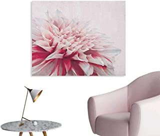 Anzhutwelve Dahlia Wall Paper Close Up Dahlia Blossom with Red and White Petals One Single Large Flower Poster Print Ruby Ivory White W32 xL24