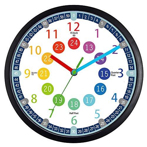 Reloj de pared para niños, reloj de pared analógico silencioso de 25,4 cm, para enseñar a los niños, sala de juegos, reloj de pared...
