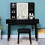 Iwell Large Vanity Table Set with Lighted Mirror, Dimming Touch Screen Switch, 5 Storage Shelves, 3 Drawers, Makeup Vanity Dressing Table with Cushioned Stool for Bedroom, Gift for Women, Girl Black