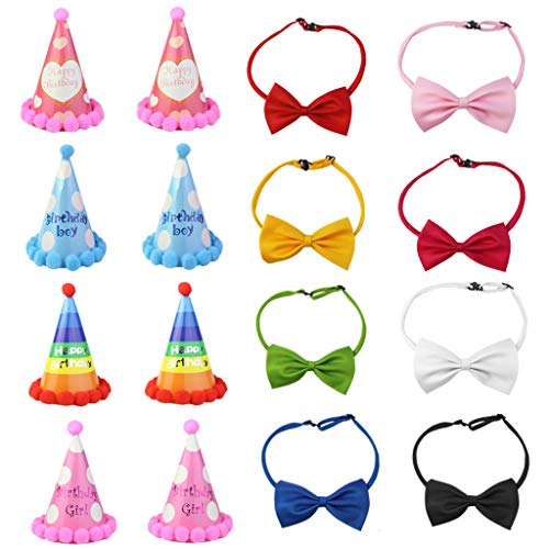 Yookat 8 Pieces Dog Party Hat with 8 Pieces Bow Tie Necktie Collar Dog Cone Hats Set Birthday Party Hat for Dogs Party Supplies Review