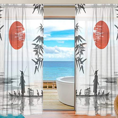 BONIPE Japanische traditionelle Boot-Malerei Vorhang aus Voile Tüll Fenster Vorhang für Küche Schlafzimmer Wohnzimmer Home Decor 139,7 x 198 cm 2 Panels Set, Polyester, Multi, 55x84x2(in)