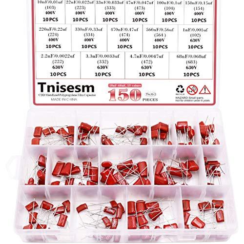 Tnisesm/ 150 Stk. 15 Wert CBB Metallisierte Polypropylen-Folien kondensatoren Sortiments kit 10nF ~ 68nF / 0.01uF ~ 0,068uF 400V und 630V in einer Box Tn-20-3