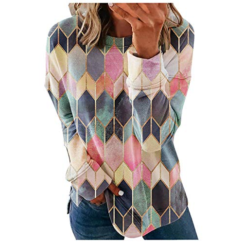 Aniywn Womens Crewneck Sweatshirts Long Sleeve Shirts Loose Pullover Tops Shirts Stylish Printed Hooded