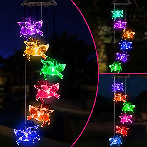 Changing Color Flying Pig Solar Wind Chimes Waterproof Mobile Solar Powered Fly Pigs Windchime Light Outdoor Hanging Romantic Solar Pig Fly Wind Chime for Festival,Home, Yard, Lawn, Patio,Garden Decor
