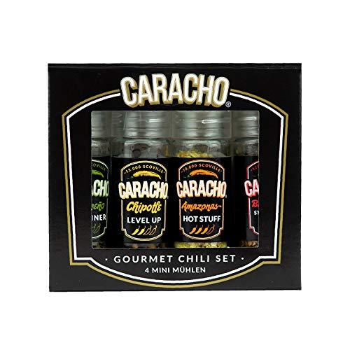CARACHO Chili Mühlen Set, 4 Mini Mühlen im Geschenkset, Hochwertige Chilis, Verschiedene Schärfegrade, Chiliset, Chiliflocken Mühlen, Birds Eye Chili, Jalapeno
