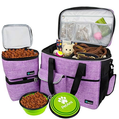 PetAmi Dog Travel Bag | Airline Approved Tote Organizer with Multi-Function Pockets, Food Container Bag and Collapsible Bowl | Perfect Weekend Pet Travel Set for Dog, Cat (Purple, Large)
