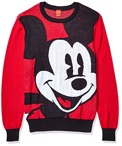 Disney Herren Ugly Christmas Sweater Pullover, Großer Micky Maus in Rot, X