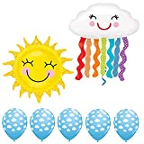 29' Sun Foil Mylar Balloon & 30' Rainbow Cloud Mylar Foil Balloon & 11' Cloud Print Latex Balloon Bundle