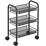 Pipishell 3-Tier Mesh Wire Rolling Cart Multifunction Utility Cart Rolling Metal Organization Cart with 2 Lockable Wheels for Home, Office, Kitchen, Bathroom, Bedroom