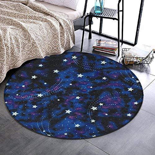 NiYoung Ultra-Soft 60' Diameter Round Area Rug - Galaxy Stars Magic Glow in The Dark Non-Slip Doormat Floor Mat Home Art for Living Room, Home, Bedroom, Absorbent Memory Foam Standing Mat