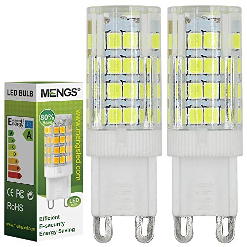MENGS 2 Stück 5W G9 LED Lampe 480lm, Kein Flackern und 6000K Kaltweiß G9 LED Glühlampe Ersatz 40W G9 Halogenlampe 360° Abstrahlwinkel für Wohnzimmer, Schlafzimmer, Küche, Esszimmer, Büro, Laden, Bad usw