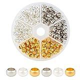 PandaHall 180pcs 3 Colori Metallo Europeo Perline in Ottone Grande Foro distanziatore Perline in Metallo Perline Allentate per Collana Braccialetto Gioielli Fabbricazione; Foro: 4,5 mm