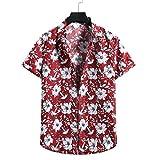 WBLKD Hombre Floral Hawaiian Camisetas Botón De Manga Corta Abajo De La Playa Camisas Red-S